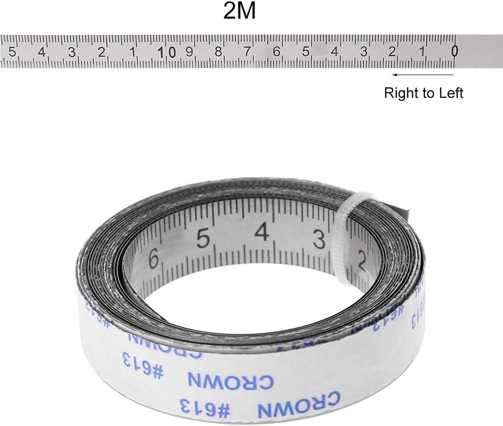 droite /à gauche Au milieu des deux c/ôt/és 1//2//3M Mentin Ruban de mesure auto-adh/ésif en Acier inoxydable de gauche /à droite 1M, De gauche /à droite