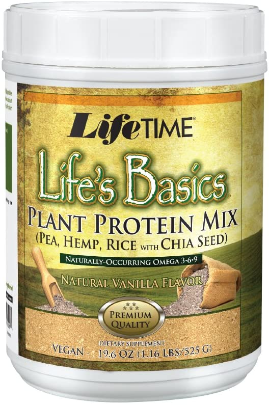 Lifetime Life s Basics Plant Based Protein Powder, Natural Vanilla, 1.22lb