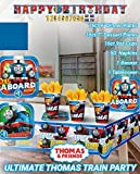 Ultimate Thomas The Train Party! Birthday Party Decoration Supplies Bundle Pack with 16 Lg 16 Sm Plates, 16 9oz Cups, Table Cover, Jumbo Banner, 50 Napkins (Bonus Matching Party Straw Pack)