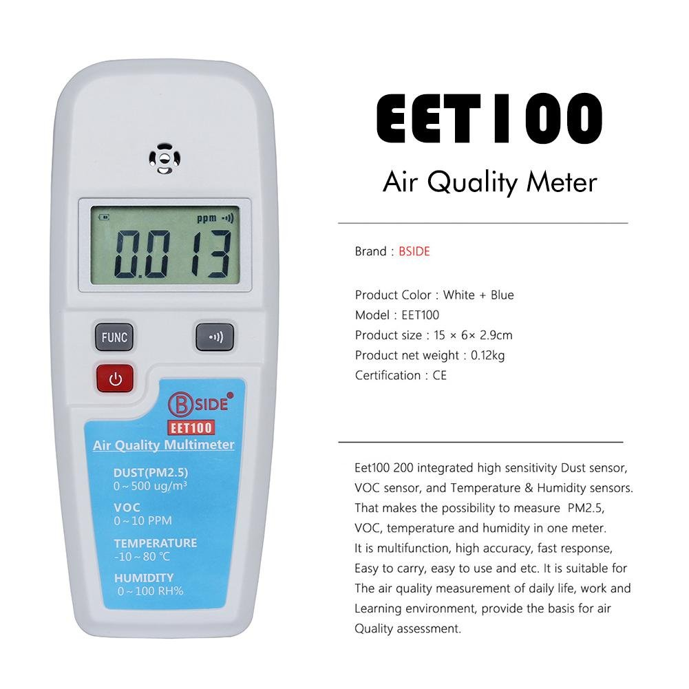 Eachbid Formaldehyde Detector Air Quality Monitoring Tester Temperature Humidity Meter