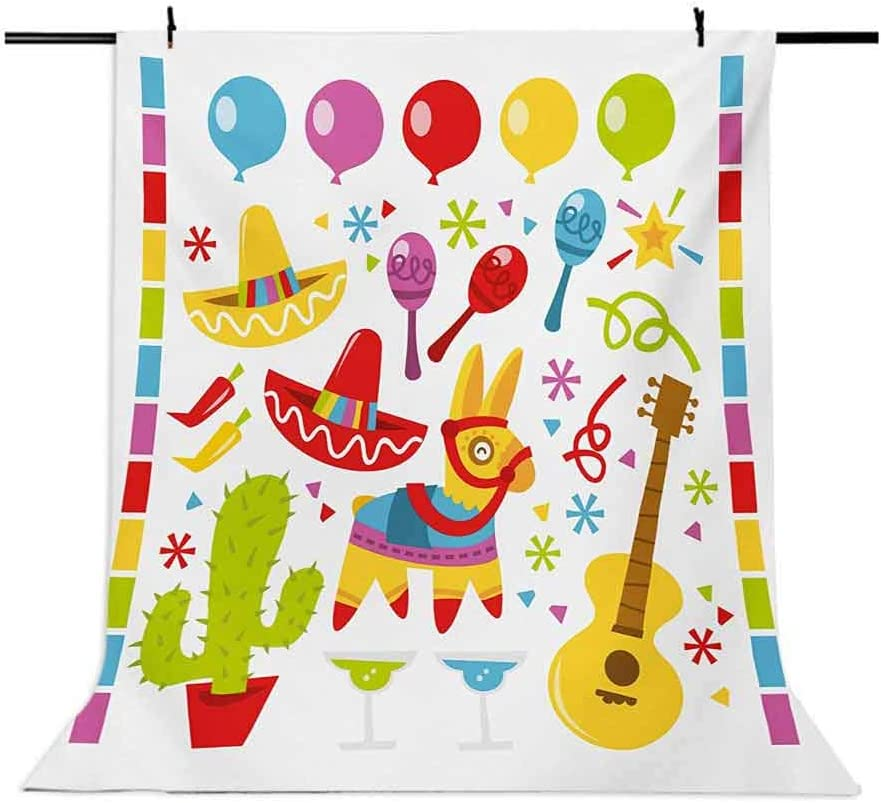 Fiesta 10x12 FT Photo Backdrops,Mexican Party Pattern Cactus Sombrero Musical Items and a Pinata Inspirations Background for Party Home Decor Outdoorsy Theme Vinyl Shoot Props Multicolor