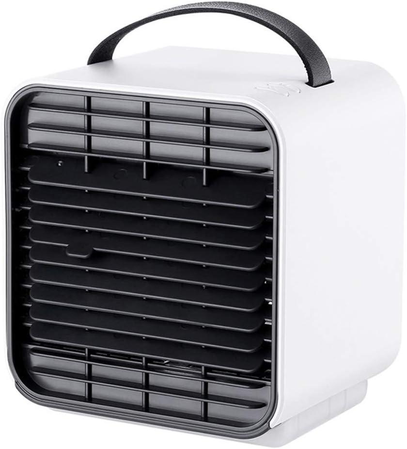 Mini-aire acondicionado USB de 5 pulgadas Ventilador de mesa silencioso recargable Ventilador de enfriamiento de aire portátil de viento de 3 velocidades con lámpara de noche para la oficina,Blanco