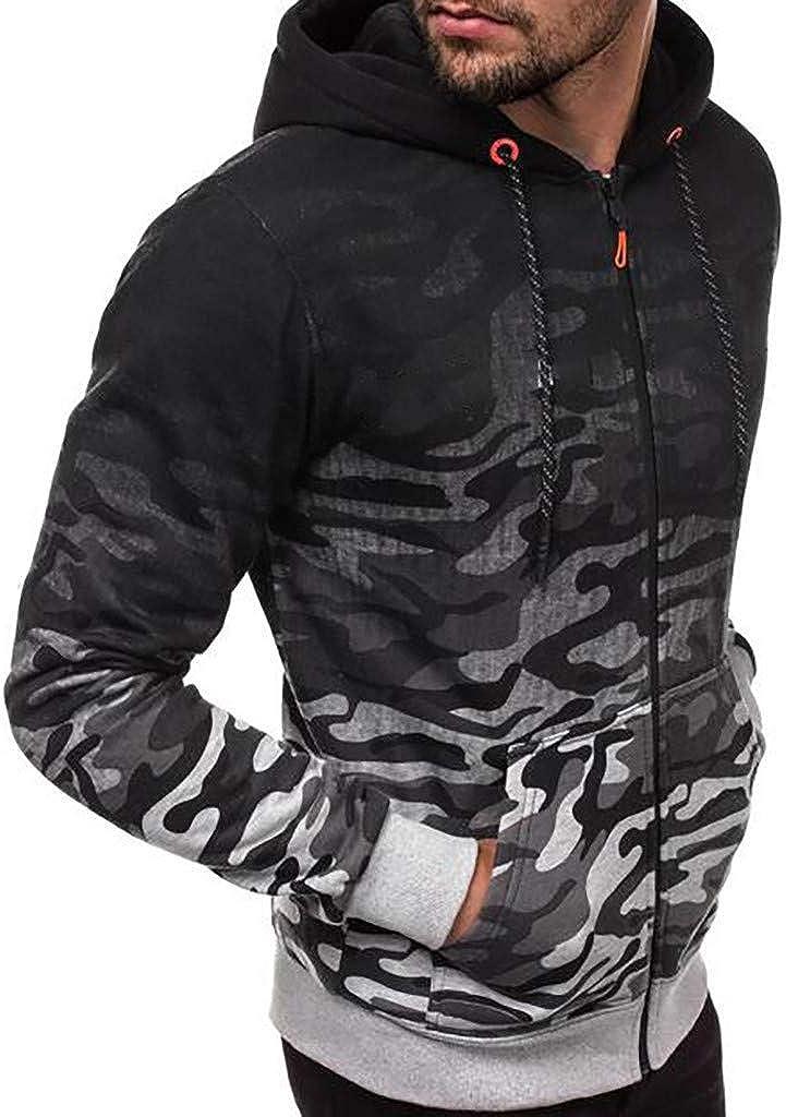 Mens Sweatshirt Beautyfine Fashion Hoodies Round Neck Color Printing Blouse Tops