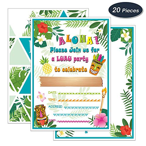 WERNNSAI Hawaiian Aloha Luau Party Invitations with Envelopes - 20 Set Summer Pool Tropical Birthday Baby Shower Tiki Party Supplies, Invitation Cards