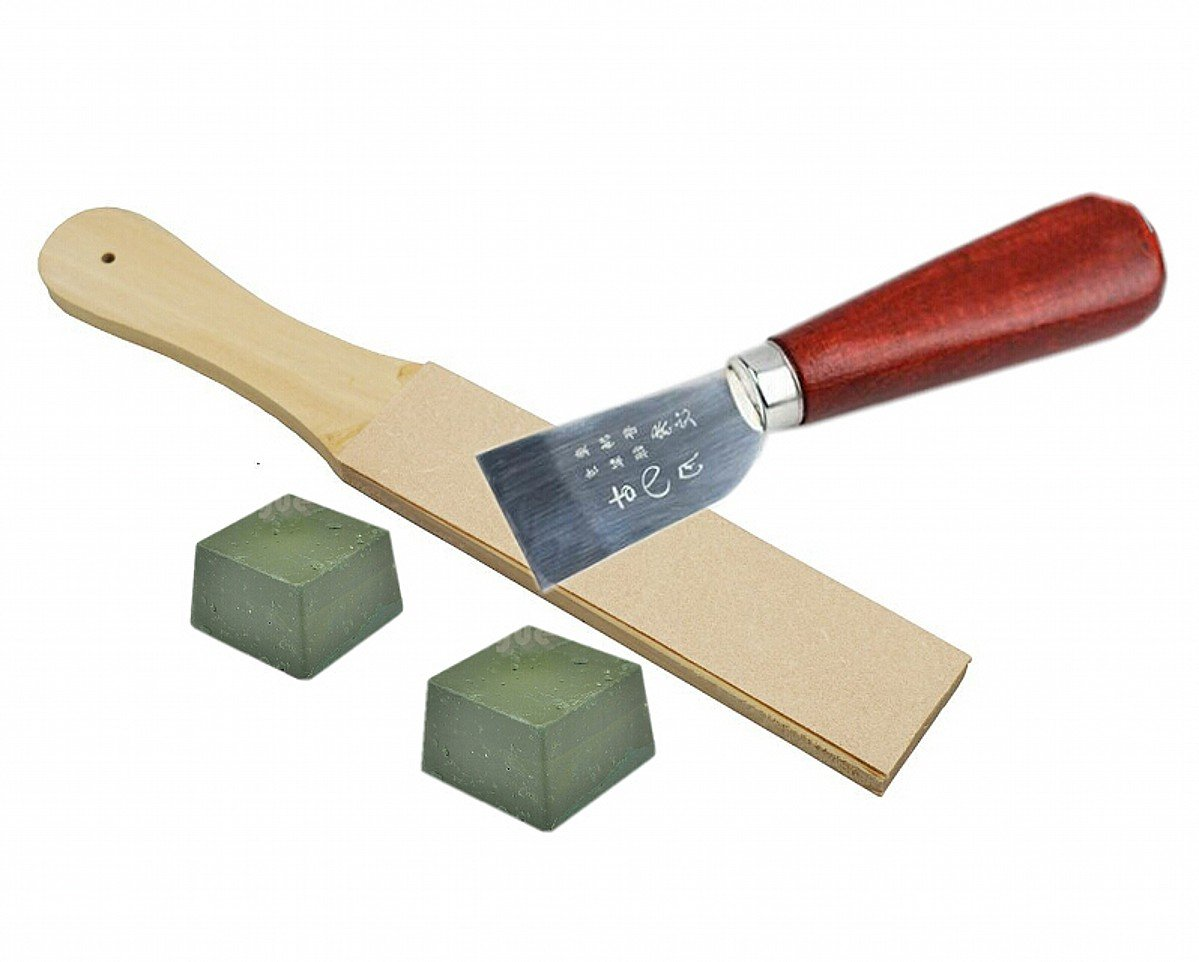 CHENGYIDA Wood Handle Skiving Sharpening Leather Strop Chest Double Sided 2 Polish Compounds