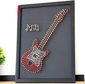 RXF 3D DIY String Art Kit Arts and Crafts,Guitar Pattern DIY Handmade New Year Christmas Home Decorations Drawing Winding Lines Painting Art Kit,Inspire Creativity