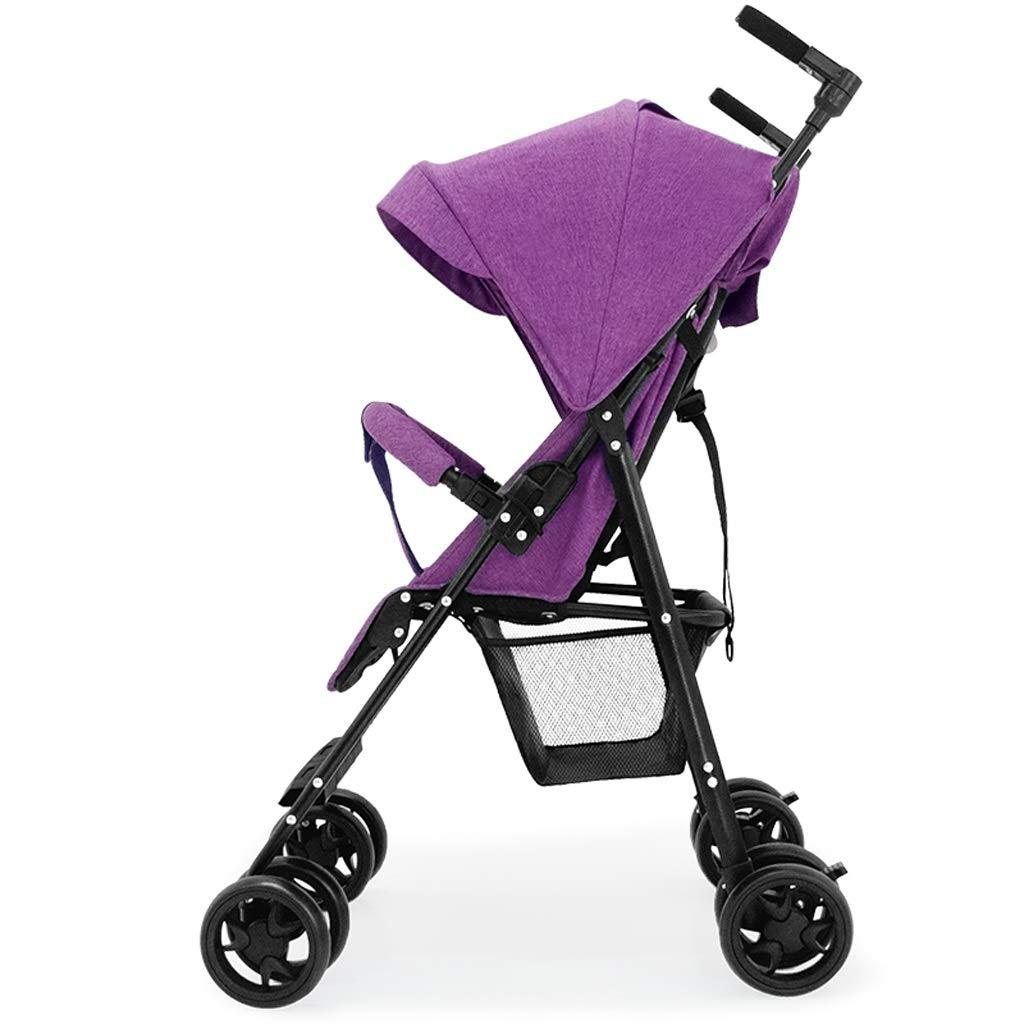 ベビーカー 背面ベビーカー ベビーカー、標準ジョギングポータブルベビーカー双方向ハンドプッシュバックレスト無料調整赤ちゃん傘高風景ベビーカー、3色 (色 : ピンク)  ピンク B07S2P2T3V