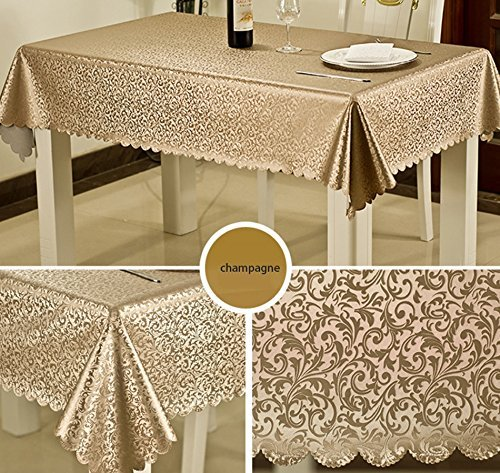 DIDIDD European dining pink table cloth dust anti-dirt anti-oil restaurant home kitchen restaurant /use pvc champagne silvery white,Ag-140180Cm