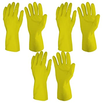 Primeway� Rubberex Superior Silverlined Rubber Hand Gloves, Large, 3 Pairs, Yellow