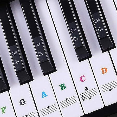 UBERMing Pegatina de Piano Pegatinas para Teclado de Piano Transparentes Etiqueta Engomada del Teclado de Piano Extraíbles para 54/61/76/88 de Piano ...