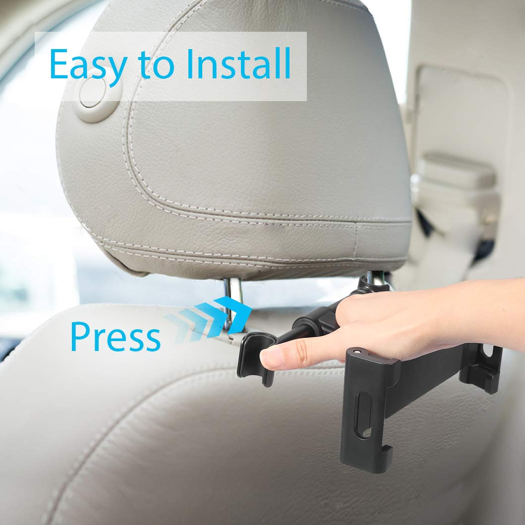 Car Headrest Mount Holder, Cookan 360° Free Rotation Tablet Holder Phone Stand Cradle Compatibility with iPad/iPhone/ Kindle Fire HD/Samsung Galaxy Tab/Note & Other 4.7\'\'-13\'\' Smartphones/Tablets