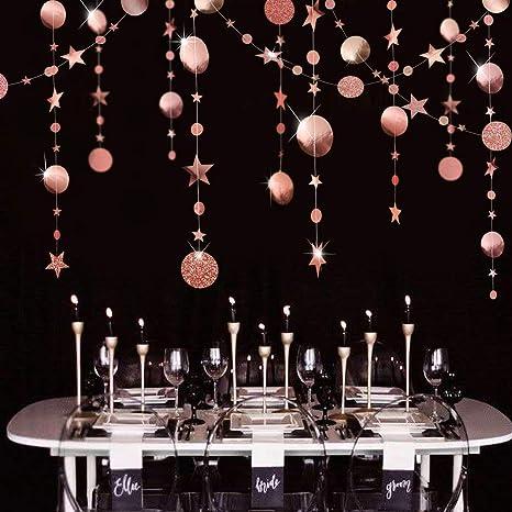 2PCS 8M Paper Circle Star Garland Drawing Xmas Birthday Party Decor Bunting UK