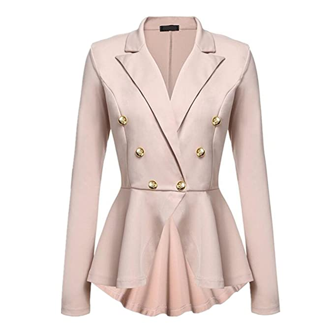 CHENMA Women Lapel Double Breast Suit Jacket Ruffle Frill Blazer at Amazon Womens Clothing store: