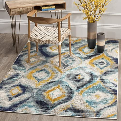 Safavieh Monaco Collection MNC242J Modern Geometric Ogee Watercolor Blue and Multi Distressed Area Rug 8 x 10