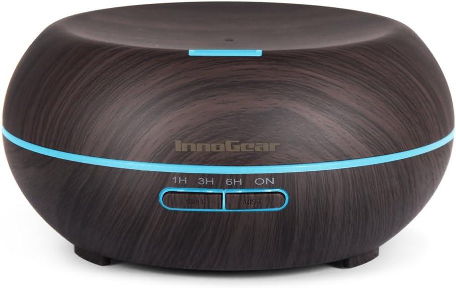 InnoGear Diffuseur d'Huile Essentielle 200ml Humidificateur à Brume Fraîche Ultrasonique Lumière LED à 7 Couleurs Arrêt Automatique Sans Eau Veinure du Foncée