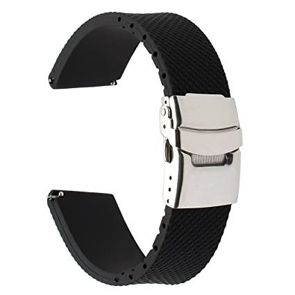 for Samsung Galaxy Watch 46mm / Gear S3 Watchband, TRUMiRR 22mm Genuine Rubber Watch Band Quick Release Resin Strap with Upgraded Stainless Steel ...