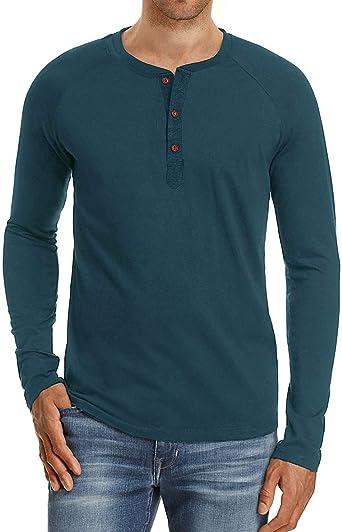 Camiseta de Manga Larga para Hombre Regular Camisa Retro Henley Camisas: Amazon.es: Ropa y accesorios