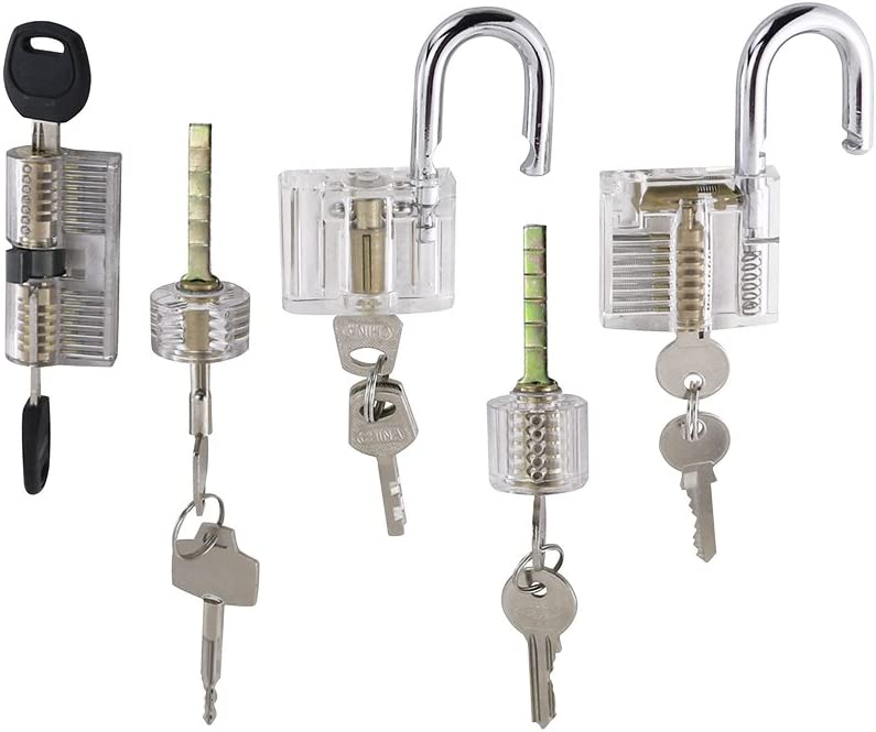 lucchetti a vista visibili in cristallo strumenti di addestramento per principianti fabbro compresi lucchetto chiuso Lockmall Set da 5 padlock Set di esercizi blocco lama e serratura a cilindro