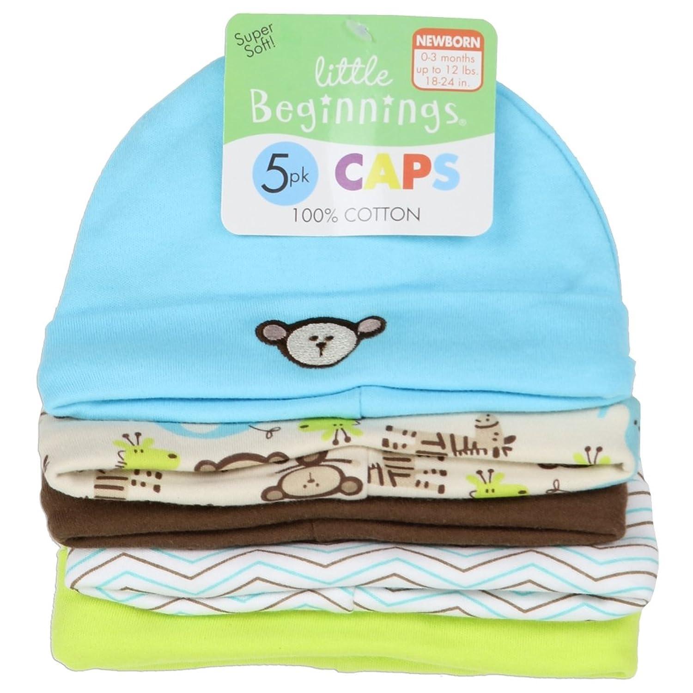 c14964fa558 Amazon.com  LITTLE BEGINNINGS BOYS 5-PACK BABY CAPS (0-3M)  Clothing