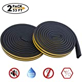 Weather Stripping for Door,Insulation Weatherproof Doors and Windows Soundproofing Seal Strip,Collision Avoidance Rubber Self-Adhesive Weatherstrip,2 Pack,Total 33Feet Long (Black)