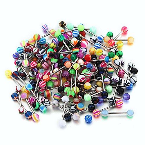 Vcmart-100pcs-Tongue-Rings-14G-Acrylic-Mixed-Barbells-Body-Piercing-Jewelry