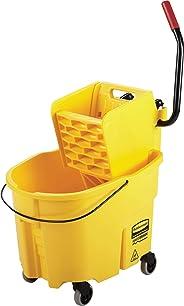 Rubbermaid Commercial WaveBrake FG748000 sistema de fregado de cubeta y escurridor de presión lateral, 26 cuartos de galón, amarillo, Amarillo, 35 Qt