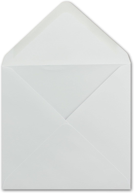 Nassklebung mit spitzer Verschlussklappe 150 x Briefumschlag Quadratisch 15 x 15 cm in Wei/ß 100g//m/² F/ür ganz besondere Anl/ässe