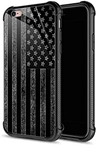 iPhone 6s Plus Case, Black and White American Flag iPhone 6 Plus Cases, Tempered Glass Back+Soft Silicone TPU Shock Protective Case for Apple iPhone 6/6s Plus