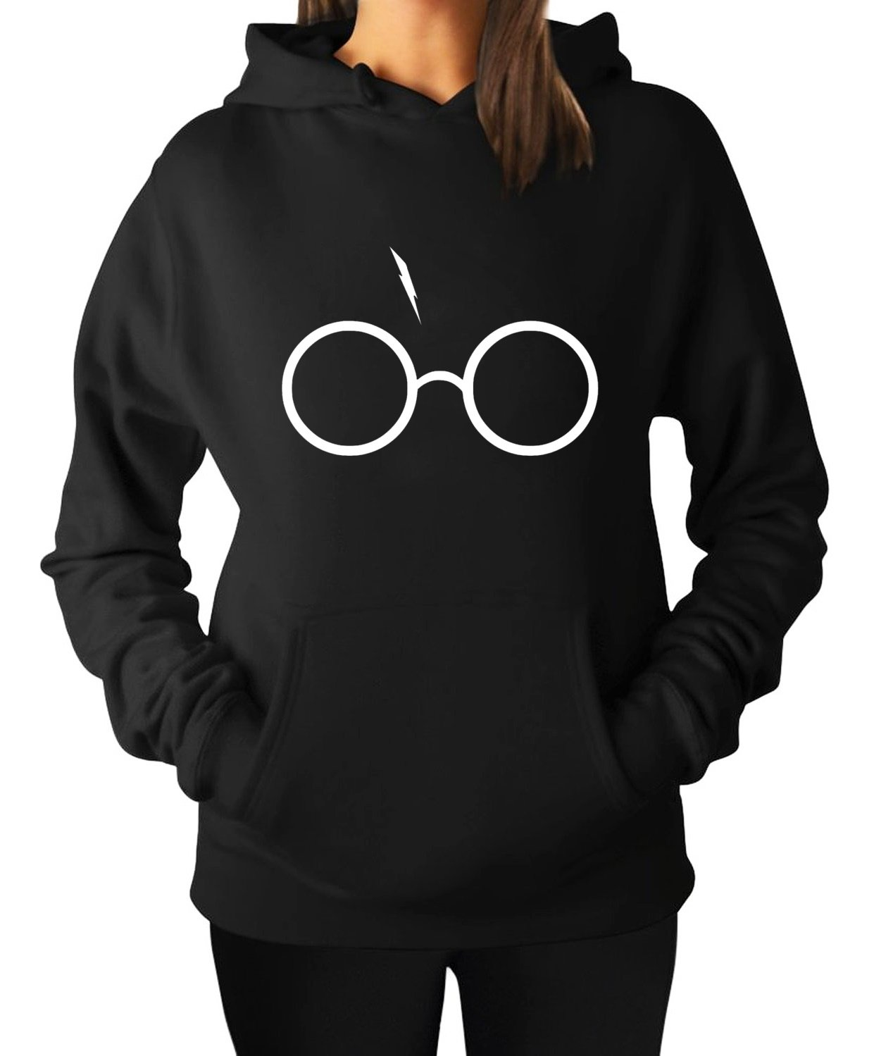 Women's Haryy Potter Glasses and Lightning Bolt Hoodie Hooded Sweater (Small, Black)