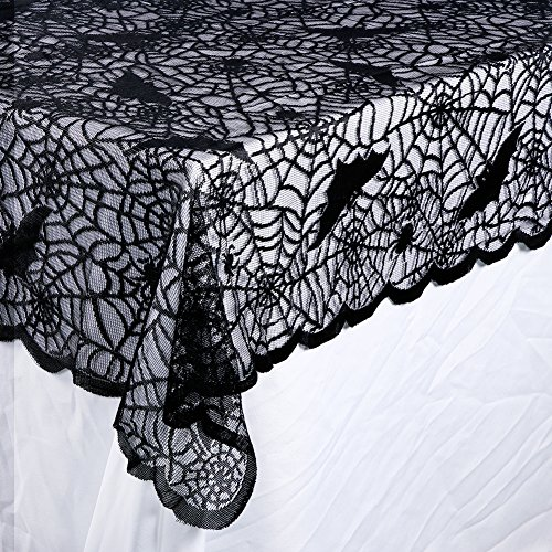 OurWarm Halloween Tablecloth, Rectangular Polyester Lace Tablecloth Black Spider Web Tablecover for Scary Movie Nights Table Decorations, 60 x 84 Inch]()