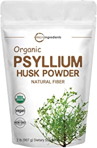 Psyllium Husk Powder Organic, 2 Pound (32 Ounce), Psyllium Husk Daily Fiber for Baking, Smoothie and Beverage, Keto Diet, No GMOs and Vegan Friendly