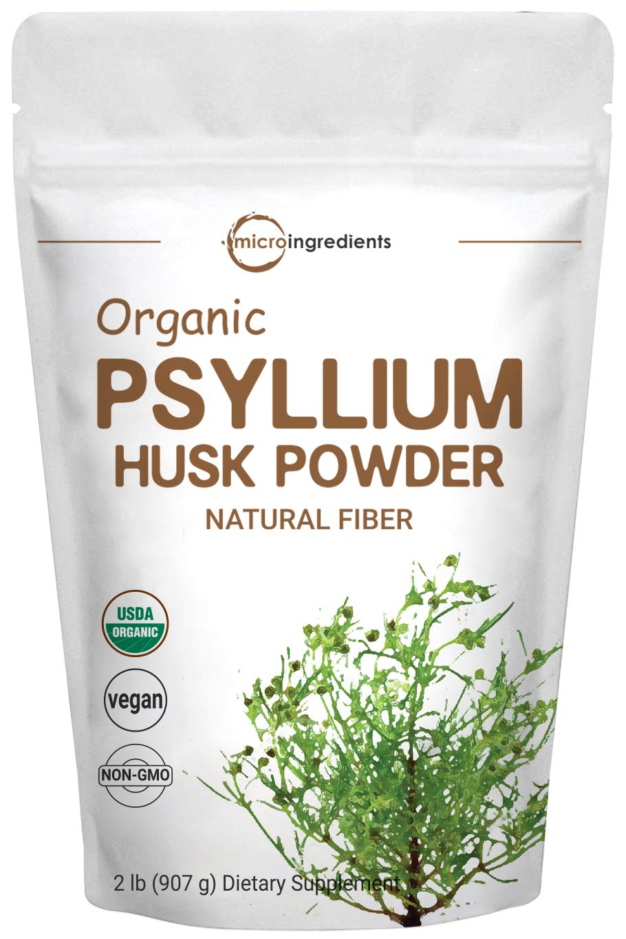 Organic Psyllium Husk Powder, 2 Pound (32 Ounce), Natural Fiber, Perfect for Baking, Smoothie and Beverage, No GMOs and Vegan Friendly by Micro Ingredients