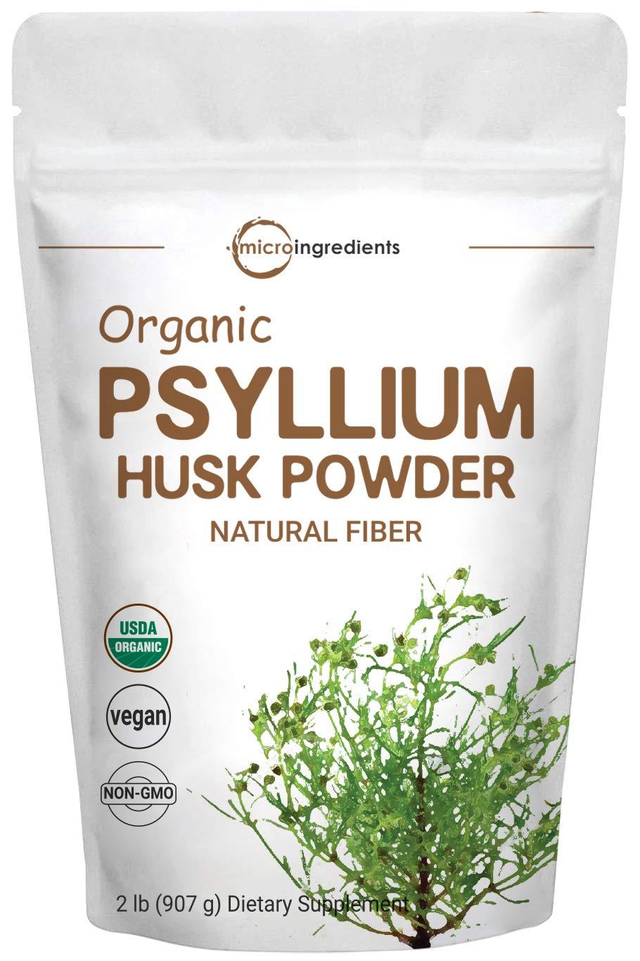 Organic Psyllium Husk Powder, 2 Pound (32 Ounce), Natural Fiber, Perfect for Baking, Smoothie and Beverage, No GMOs and Vegan Friendly