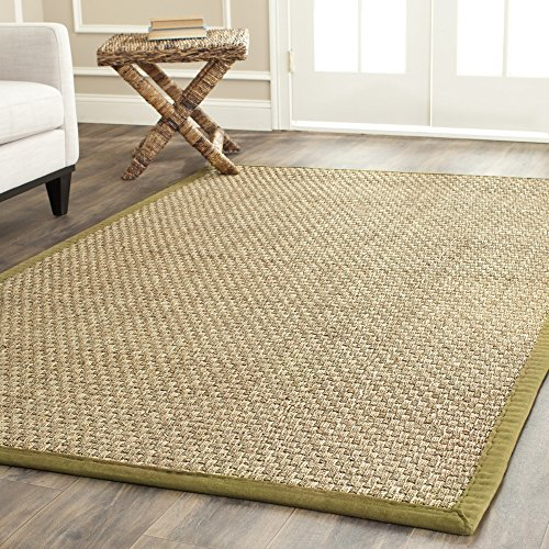 Safavieh Natural Fiber Collection Nf114g Basketweave Natural And Olive Seagrass Area Rug 4 X 6