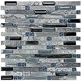 Soapstone Blues (GD09) Gray Marble Stone Blue Black Glass Blend Backsplash Tiles for Kitchen Bathroom Mosaic Wall (1 Box / 11 Sheets)