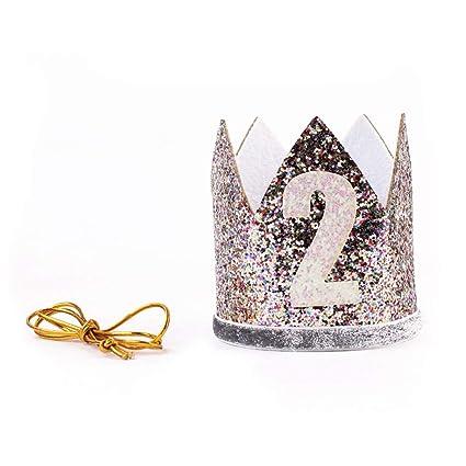 lurrose corona niños, diadema cumpleaños, banda de cabello 2 ...