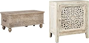 Signature Design by Ashley - Fossil Ridge Storage Bench - Medallion Carvings - Antique White Finish & Fossil Ridge Accent Cabinet - Boho Chic - Carved Floral Design - White