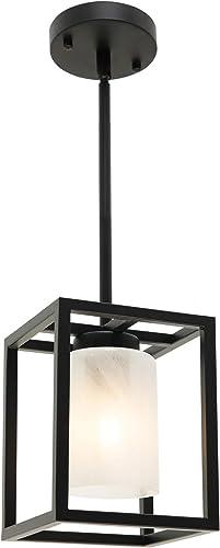 VINLUZ Modern 1-Ligh Farmhouse Pendant Lighting Kitchen Island Black Finish Square Metal Mini Chandeliers Industrial Cage Hanging Light Fixture Ceiling