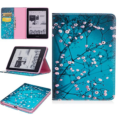 Kindle Voyage Case, SKYXD Ultra Thin Premium PU Leather Flip Fold Stand Smart Book Style Full Body Protection Case Cover - Blue White (Best Cases For Kindle Voyages)
