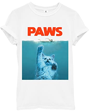 374a21af4 Paws Cat Jaws Parody White T-Shirt Slogan Hipster Funny Movie Film  (X-Large): Amazon.co.uk: Clothing