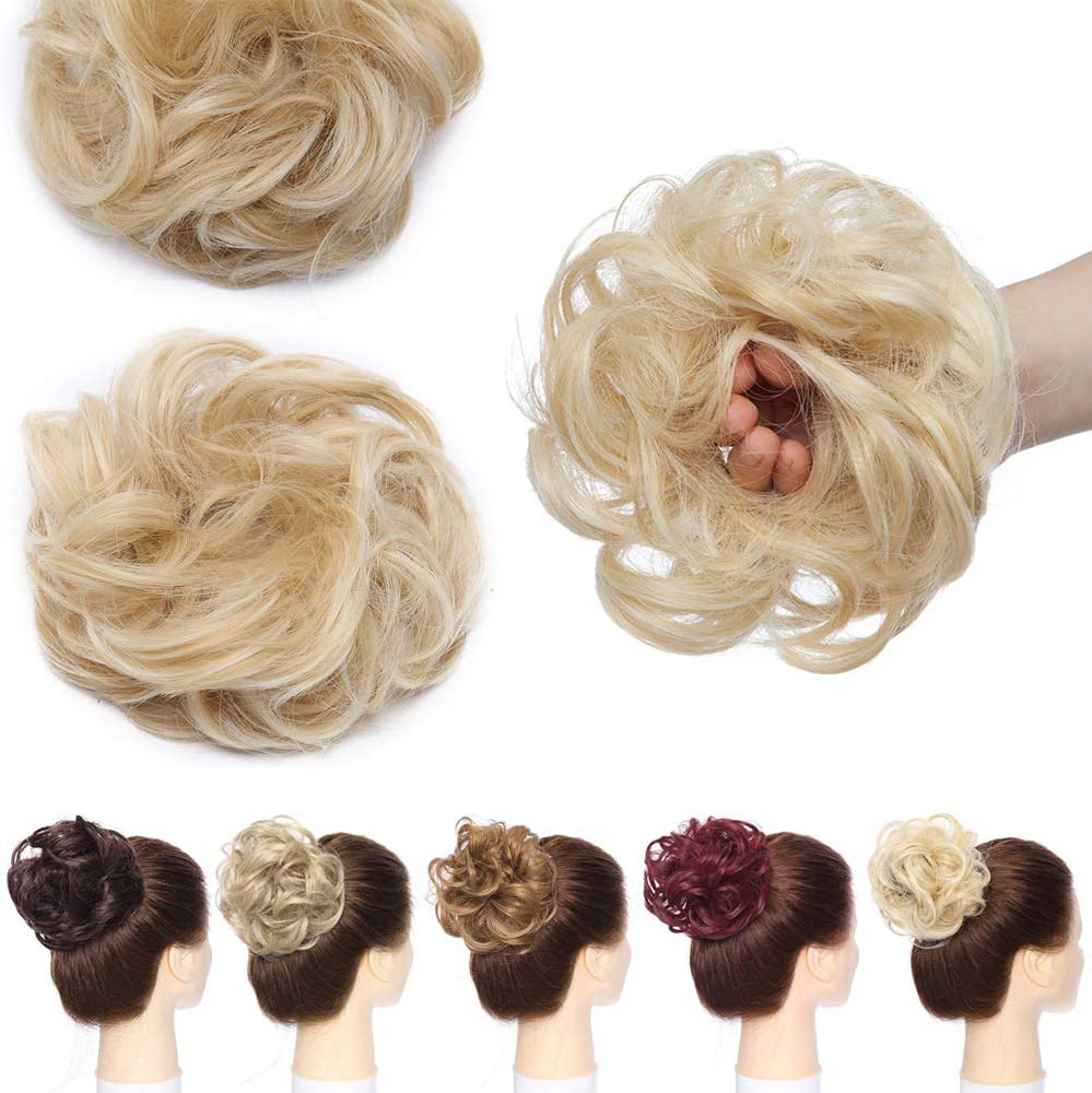 25g Natural Curly Bun Hair Extensions Messy Updo Scrunchie Scrunchies Synthetic Chignon Ponytail Hairpiece Baby Blonde Mix Bleach Blonde Amazon Co Uk Beauty