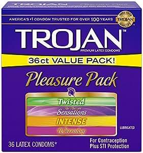 Trojan Condom Pleasure Pack Lubricated, 36 Count