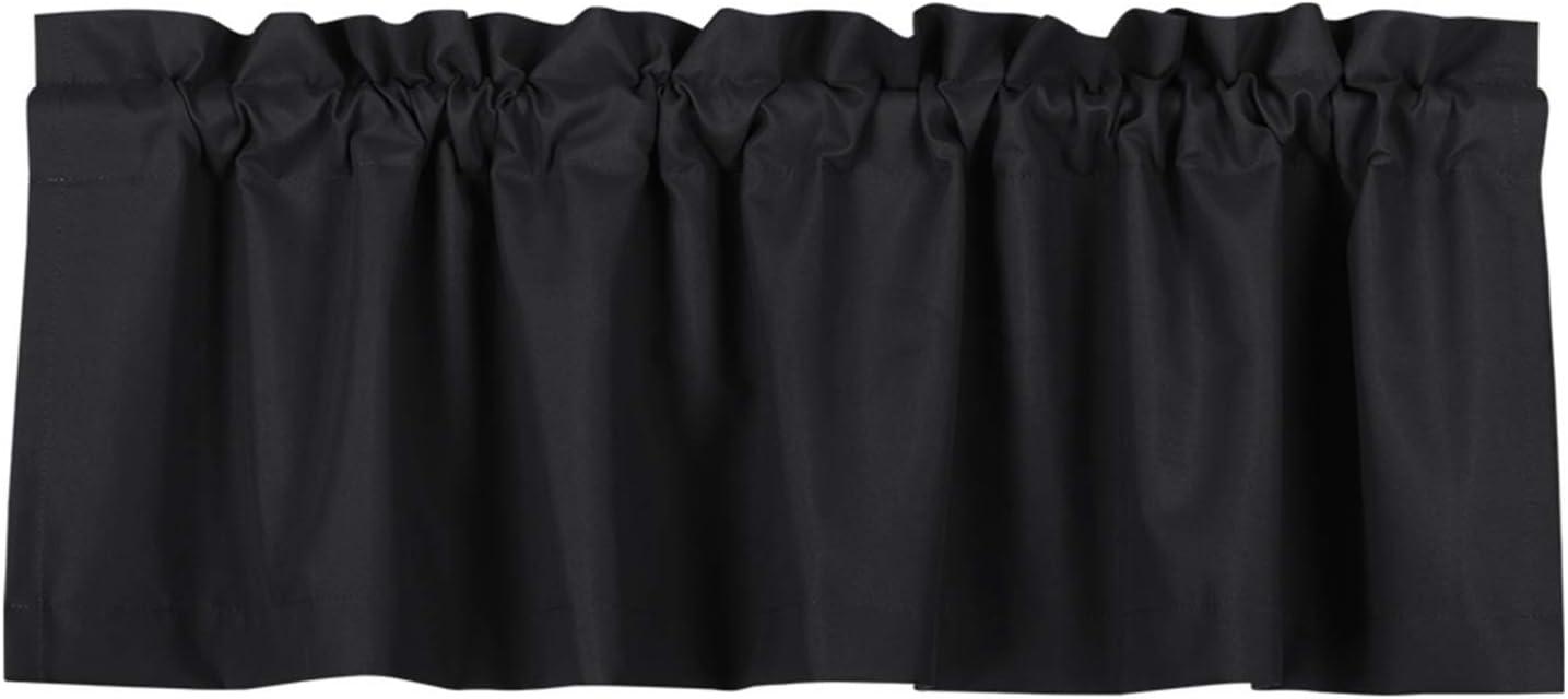 Valea Home Blackout Valance Curtains Waterproof Soft Rod Pocket Valance for Kitchen and Bathroom Window Room Darkening Valances for Bedroom, 52 inch x 18 inch, Black