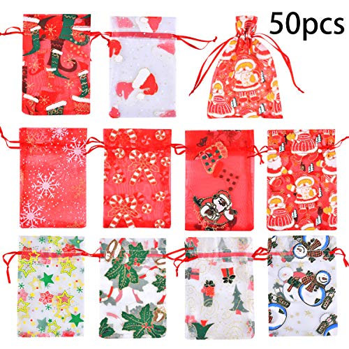 Funkprofi 50 PCS 4x6 Inches Mixed Color Christmas Organza Gift Bags with Drawstring, Jewelry Candy Bags for Wedding Party, Including Patterns of Santa Claus, Christmas Stockings, Christmas Hats etc.