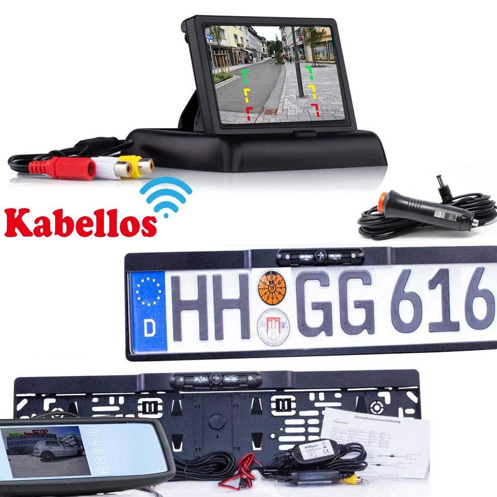 Bis zu 5 Jahre Garantie Flip Monitor HSRpro R/ückfahrkamera mit Kennzeichenhalter inkl Rear View Camera Kamera Drahtloser Kabellose Funk oder Kabel Vinbindung f/ür PKW KFZ Auto Bus /& Transporter