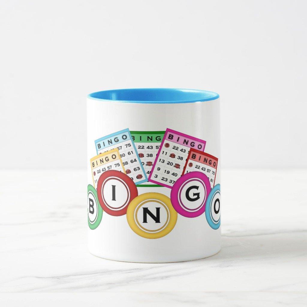 Zazzle Bingo Coffee Mug, Light Blue Combo Mug 11 oz by Zazzle