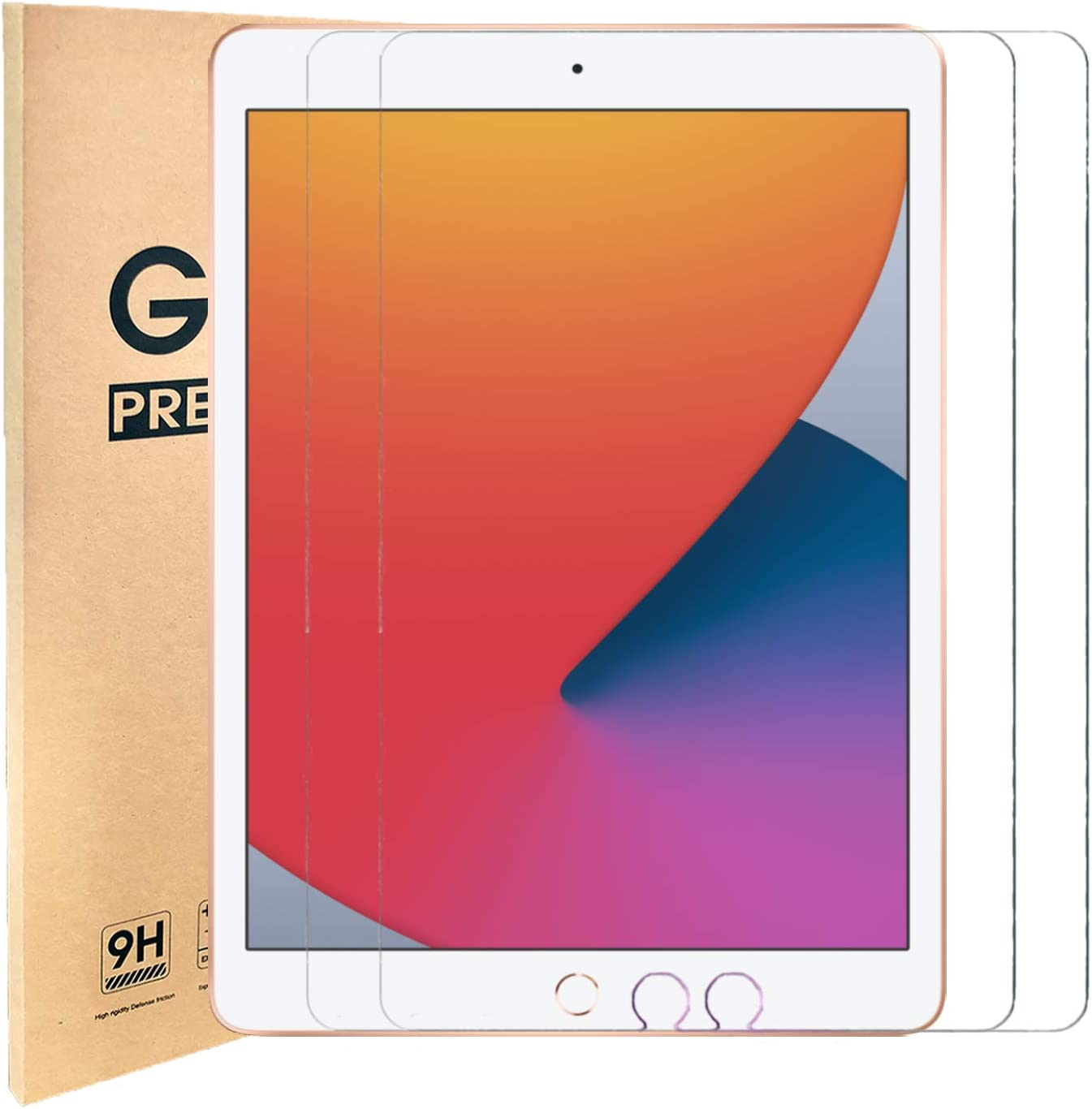 [2 Pack] iPad 10.2 Screen Protector,Tempered Glass for iPad 7th Gen,iPad 8th Generation