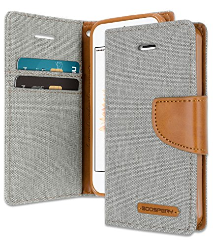 iPhone SE/5S/5 Wallet Case with Free 6 Gifts [Shockproof] GOOSPERY Canvas Diary Ver.Magnetic [Denim Material] Card Holder with Kickstand Flip Cover for Apple iPhoneSE 5S 5 - Gray, IP5-CAN/GF-GRY