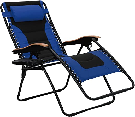 PHI VILLA Zero Gravity Chair Padded Recliner Adjustable Lounge Chair with Free Cup Holder Grey