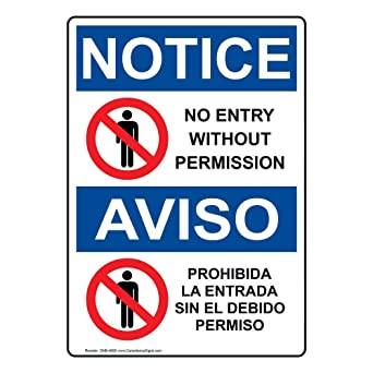 Amazon.com: compliancesigns aluminio OSHA Aviso signo, 7 x 5 ...